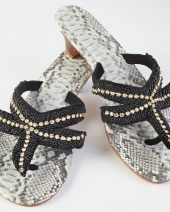 Black Beads and White Jewels Sandals