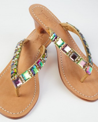 Faceted Clear Square Stones Sandals